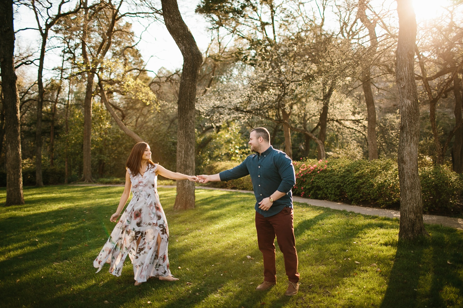 Kadee + Tyler _ a forest and city skyline engagement shoot in Dallas by North Texas Wedding Photographer Rachel Meagan Photography_24