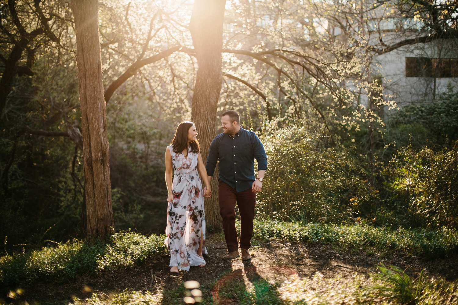 Kadee + Tyler _ a forest and city skyline engagement shoot in Dallas by North Texas Wedding Photographer Rachel Meagan Photography_32
