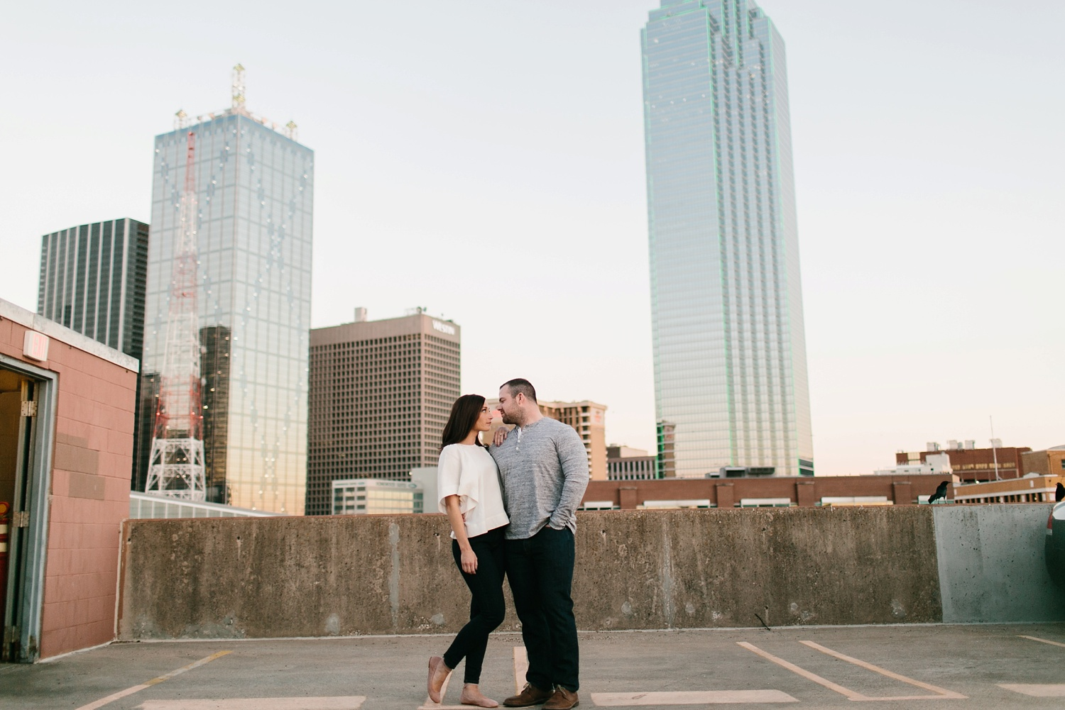 Kadee + Tyler _ a forest and city skyline engagement shoot in Dallas by North Texas Wedding Photographer Rachel Meagan Photography_53