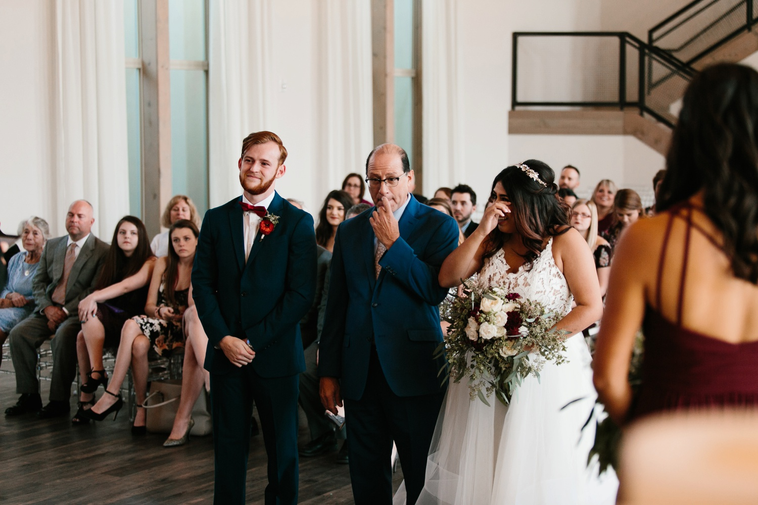 Grant + Lysette | a vibrant, deep burgundy and navy, and mixed metals wedding at Hidden Pines Chapel by North Texas Wedding Photographer Rachel Meagan Photography 065