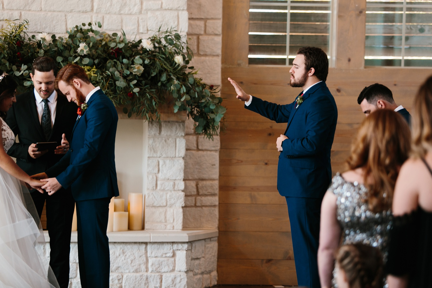 Grant + Lysette | a vibrant, deep burgundy and navy, and mixed metals wedding at Hidden Pines Chapel by North Texas Wedding Photographer Rachel Meagan Photography 077