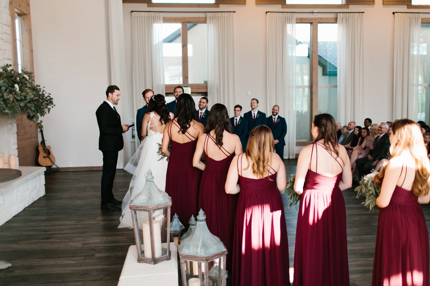Grant + Lysette | a vibrant, deep burgundy and navy, and mixed metals wedding at Hidden Pines Chapel by North Texas Wedding Photographer Rachel Meagan Photography 078