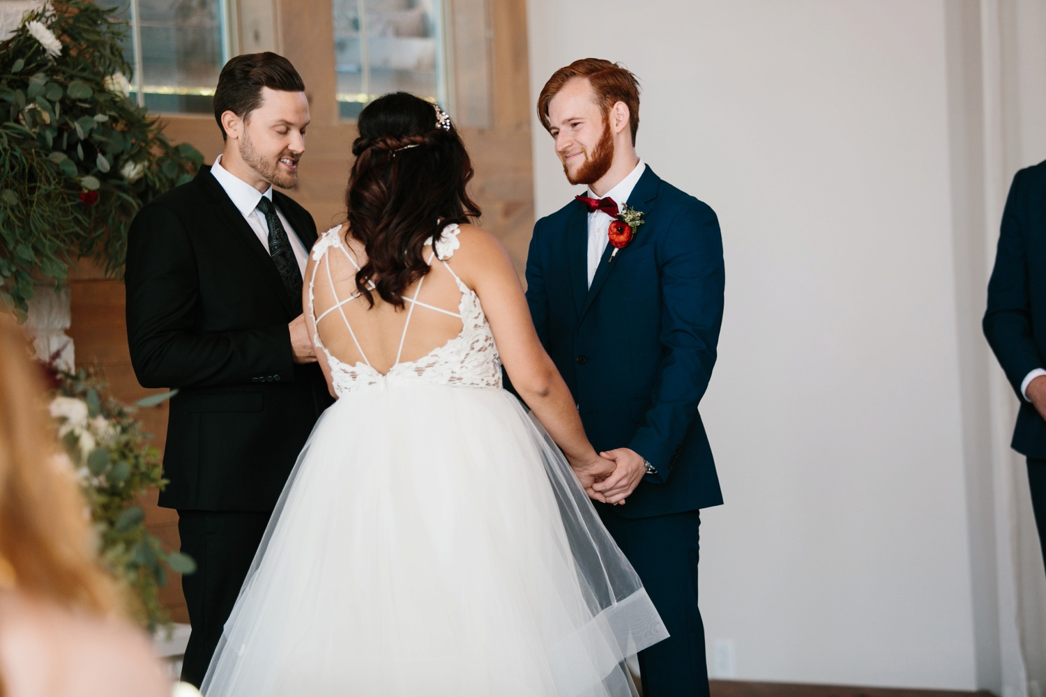 Grant + Lysette | a vibrant, deep burgundy and navy, and mixed metals wedding at Hidden Pines Chapel by North Texas Wedding Photographer Rachel Meagan Photography 085