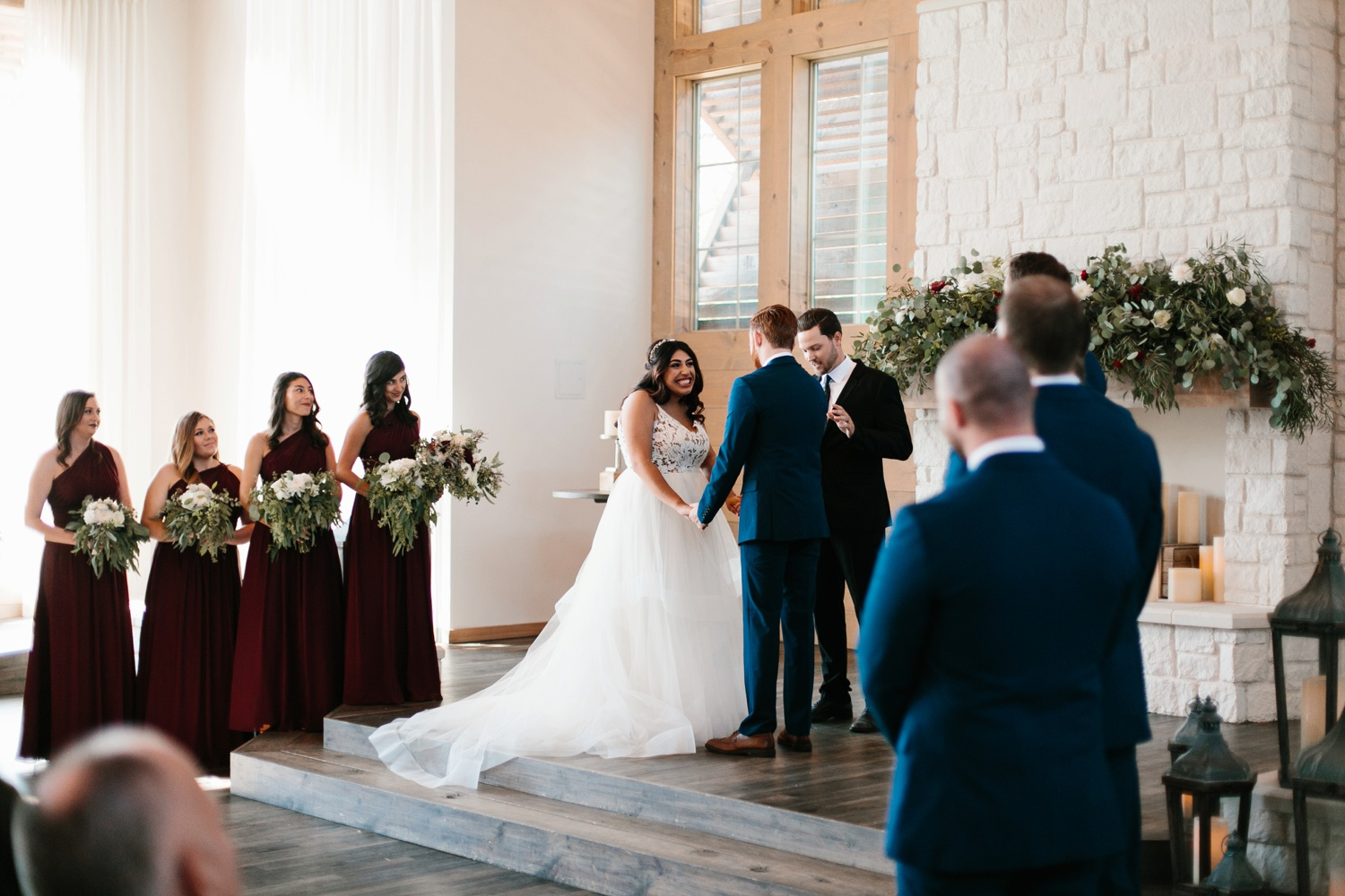 Grant + Lysette | a vibrant, deep burgundy and navy, and mixed metals wedding at Hidden Pines Chapel by North Texas Wedding Photographer Rachel Meagan Photography 087