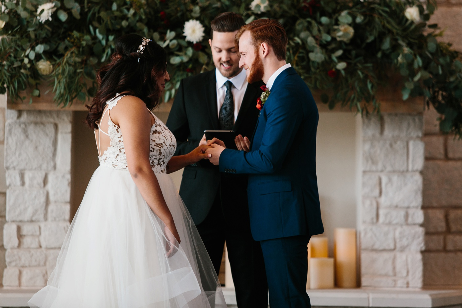 Grant + Lysette | a vibrant, deep burgundy and navy, and mixed metals wedding at Hidden Pines Chapel by North Texas Wedding Photographer Rachel Meagan Photography 090