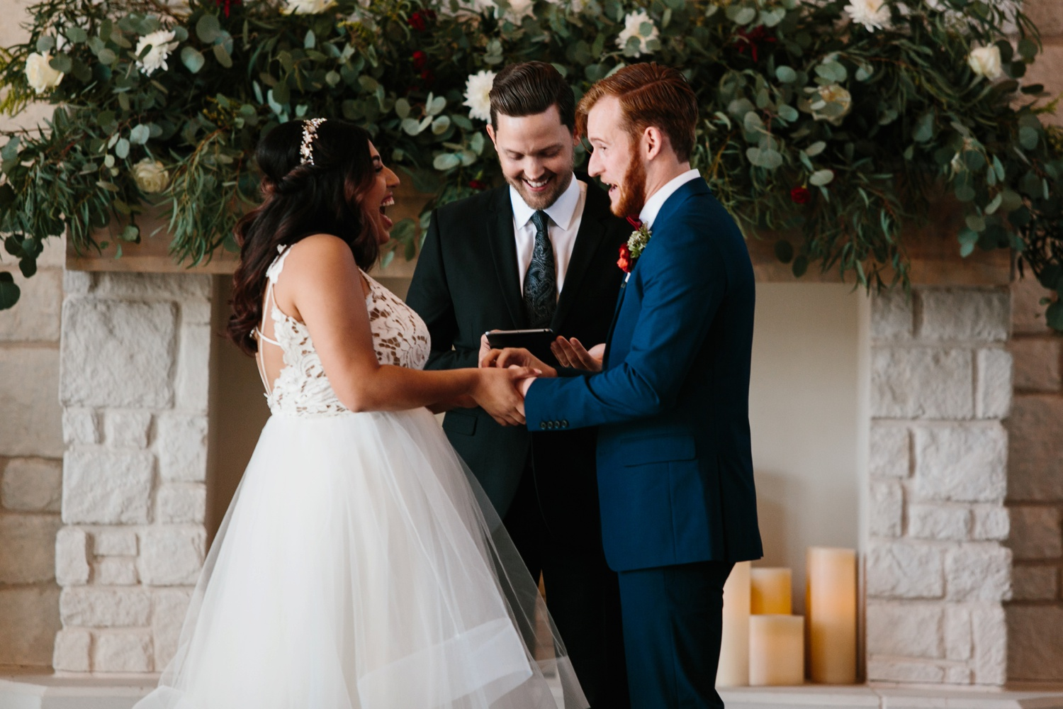 Grant + Lysette | a vibrant, deep burgundy and navy, and mixed metals wedding at Hidden Pines Chapel by North Texas Wedding Photographer Rachel Meagan Photography 091