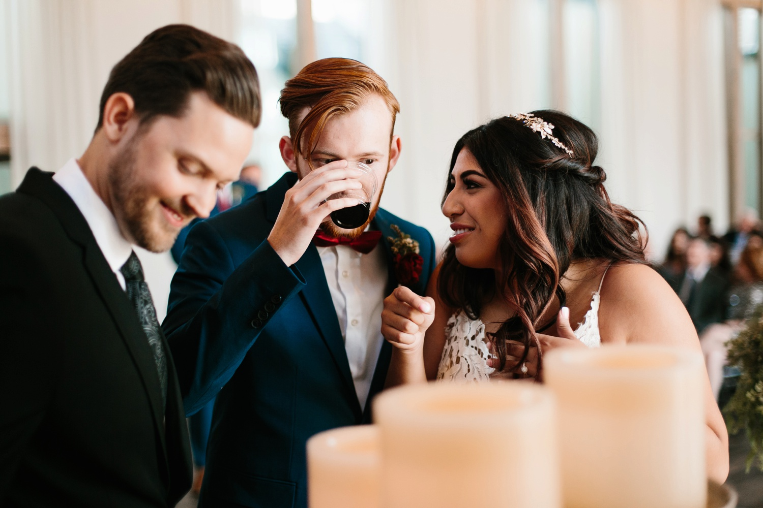 Grant + Lysette | a vibrant, deep burgundy and navy, and mixed metals wedding at Hidden Pines Chapel by North Texas Wedding Photographer Rachel Meagan Photography 100