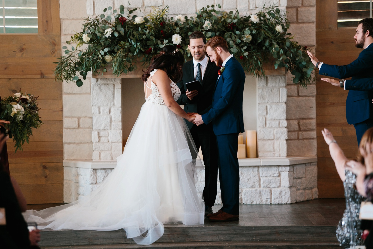 Grant + Lysette | a vibrant, deep burgundy and navy, and mixed metals wedding at Hidden Pines Chapel by North Texas Wedding Photographer Rachel Meagan Photography 105