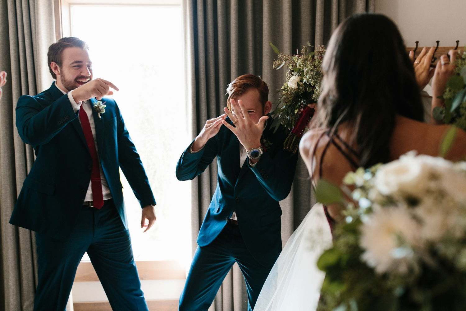 Grant + Lysette | a vibrant, deep burgundy and navy, and mixed metals wedding at Hidden Pines Chapel by North Texas Wedding Photographer Rachel Meagan Photography 113