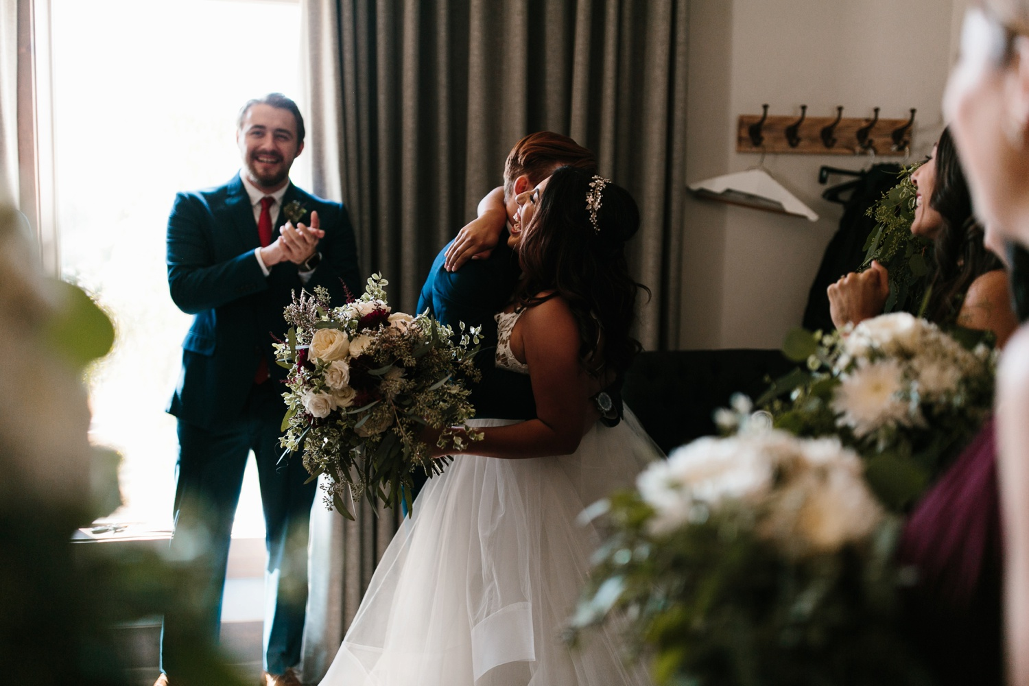 Grant + Lysette | a vibrant, deep burgundy and navy, and mixed metals wedding at Hidden Pines Chapel by North Texas Wedding Photographer Rachel Meagan Photography 115