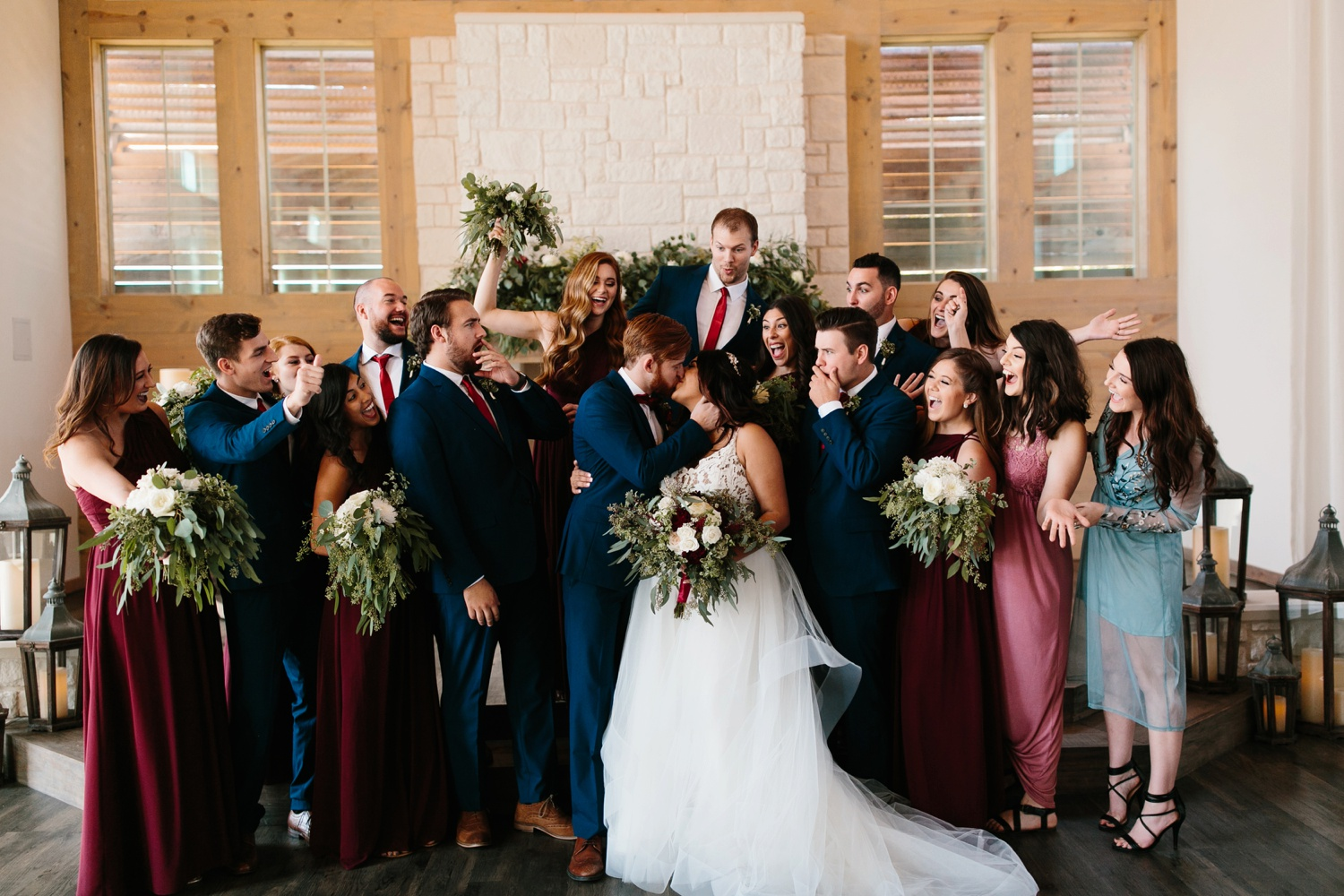 Grant + Lysette | a vibrant, deep burgundy and navy, and mixed metals wedding at Hidden Pines Chapel by North Texas Wedding Photographer Rachel Meagan Photography 126