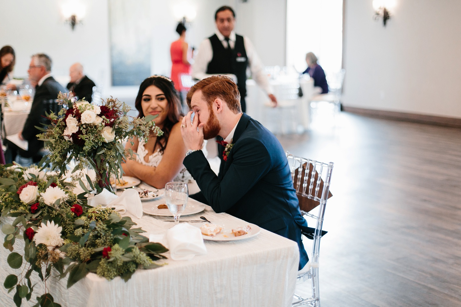 Grant + Lysette | a vibrant, deep burgundy and navy, and mixed metals wedding at Hidden Pines Chapel by North Texas Wedding Photographer Rachel Meagan Photography 150
