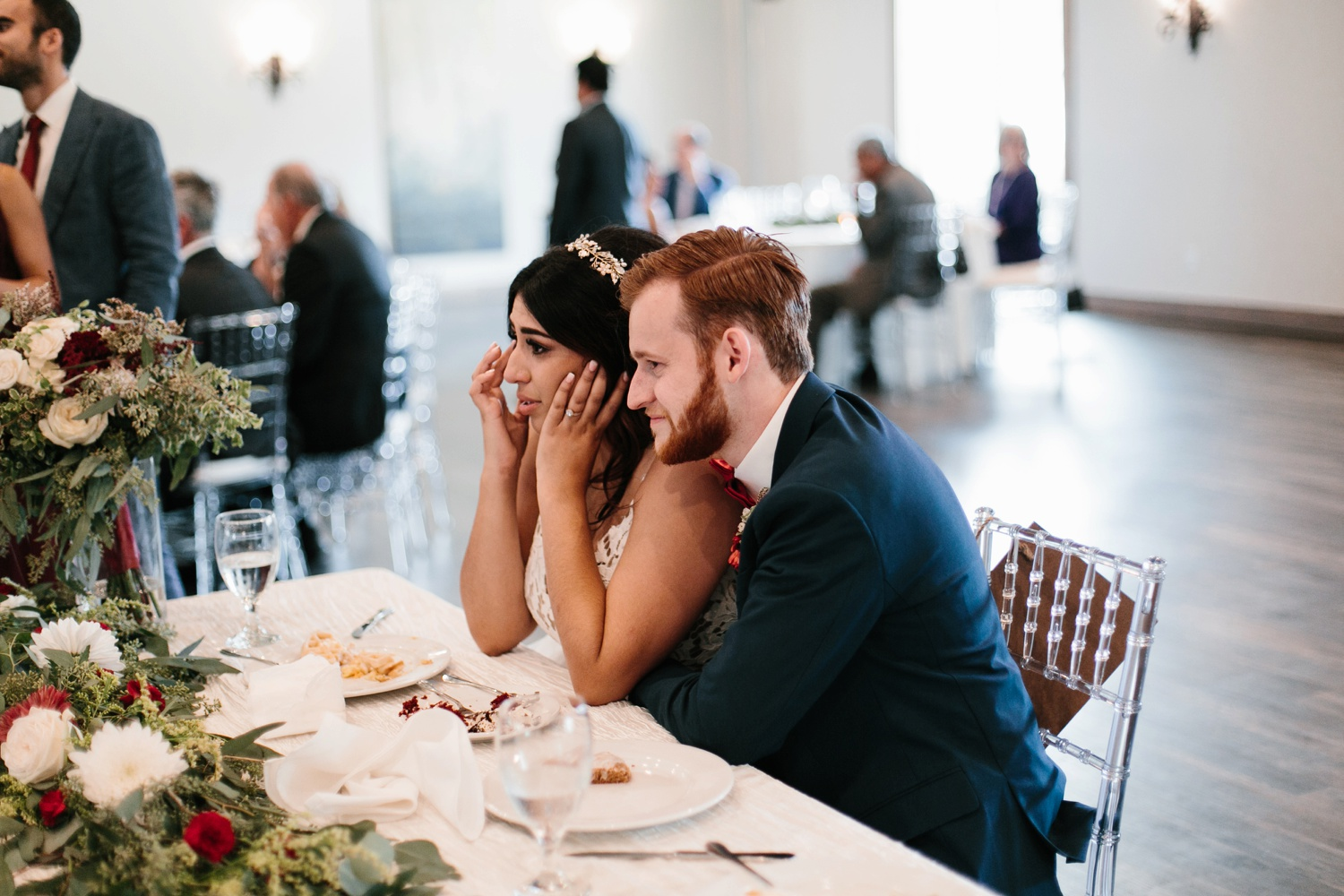 Grant + Lysette | a vibrant, deep burgundy and navy, and mixed metals wedding at Hidden Pines Chapel by North Texas Wedding Photographer Rachel Meagan Photography 154